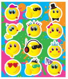 Smiley Faces Themed Stickers - 10 Pack