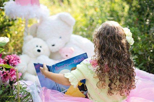 Little Girl Reading, Garden, Child, Girl