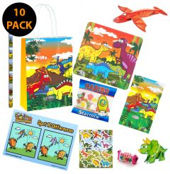 Dinosaur Theme 10 Pack Premium Pre Filled Party Bag Contents