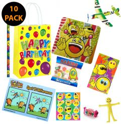 Happy Birthday Yellow 10 Pack Premium Pre Filled Party Bag Contents