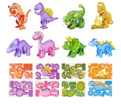 Dinosaur 3D Foam Model/Puzzle - 10 Pack
