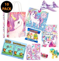 Unicorn Theme 10 Pack Premium Pre Filled Party Bag Contents