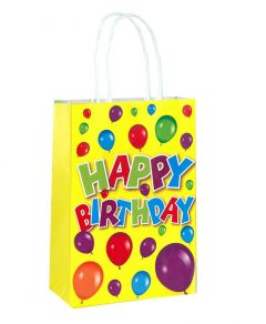 Happy Birthday Yellow Paper Loot Bag