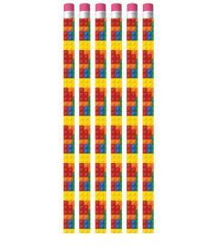 Bricks Themed Pencil - 6 Pack